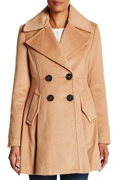 BCBGeneration - Double Breasted Fit & Flare Wool Blend Coat is now 53% off. Free Shipping on orders over $100.
