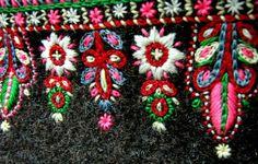 Scandinavian folk embroidery on wool