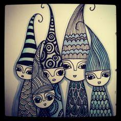 DoodleDiem: December inspirerer - love these little doodled gnomes
