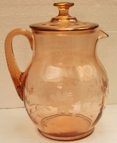 Pink Depression Glass Water Pitcher, starting at $25 in tonight's Antique Faire auction at 6 PM PT.