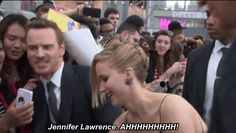 Michael Fassbender Also Fangirls Over Jennifer Lawrence /// I'm just going to marry him okay. XD <<< I think you have a very long line in front of you xD Jeniffer Lawrance, Fandoms, Marvel Dc, Tom Hiddleston, Nerd, Dc Movies, James Mcavoy, Bae, Looks Cool