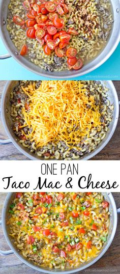 One Pan Taco Macaroni and Cheese cut meat in half. Served with shredded lettuce and cherry tomatoes.