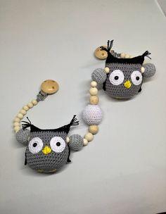 Crochet baby pram owl mobile/stroller mobile/crochet teething