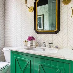 Emerald Green Washstand with Black and Gold Mirror