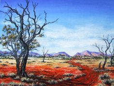 Australian outback pastel painting by Sian Butler. Easy Landscape Paintings, Watercolor Landscape, Watercolor Art, Watercolour Paintings, Pastel Paintings, Australian Painting, Australian Art, Kunst Der Aborigines, Acrylic Painting Inspiration