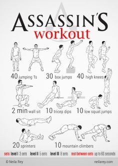 Assassin Workout Quite literally insane. I only did one set because my five minutes of various planks made me nauseous but dang this is a sweet workout!!