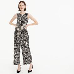 Petite Tie-front jumpsuit in pebble print- jcrew- size 4