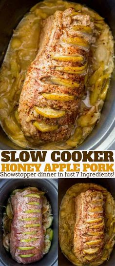 easiest fancy meal you'll ever serve your guests, this Crock Pot Honey Apple Pork Loin.The easiest fancy meal you'll ever serve your guests, this Crock Pot Honey Apple Pork Loin. Crock Pot Slow Cooker, Slow Cooker Recipes, Crock Pot Pork, Slow Cooker Pork Roast, Slow Cooked Pork Loin, Slow Cooker Dinners, Pork Loun, Slow Cooker Desserts, Pot Roast