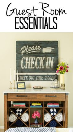 DIY home decor projects : Guest rooms can be awesome retreats even if you're on a motel budget. Use one multi-purpose piece of furniture to organize a small room with details that will give every guest sweet dreams! Guest Room Sign, Guest Room Essentials, Fall Clean Up, Vintage Hotels, Aging Wood, Room Signs, Diy Signs, Guest Bedrooms, B & B