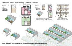 """Nexus World Housing, Fukuoka, OMA, 1991. """"Each house offers a variety of spatial conditions and tectonic contrasts: enclosed vs. exploding, intimate vs. open, public vs. private, high vs. light, concrete vs. abstract"""""""