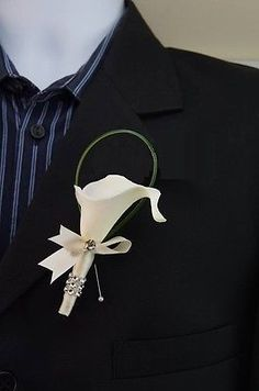 Nice-quality-Real-touch-calla-lily-boutonniere-Ivory-Ribbon-Wrapped