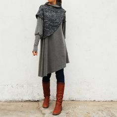 This patchwork dress or tunic is simple, elegant and quirky in woolen tweed and very comfortable to wear This design has no front or back, you may wear it in two ways you like to get two looks. It's colors are more beautiful than the photo shows. The shapes of sleeves and pleats on body are slenderizing and flattering. The collar is asymmetrical; you may wear it erected or down. And it doesn't require you have neck long and elegant like swan.