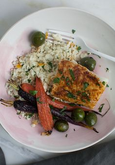 Healthy Dinner for One: Moroccan-Spiced Cod with Cauliflower Cous Cous and Carrots