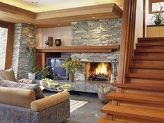 Stone Fireplace for a cozy basement Low Ceiling Basement, Cozy Basement, Basement Bedrooms, Basement Ideas, Basement Stairs, Off Center Fireplace, Rectangular Living Rooms, Cove Lighting, Basement Inspiration
