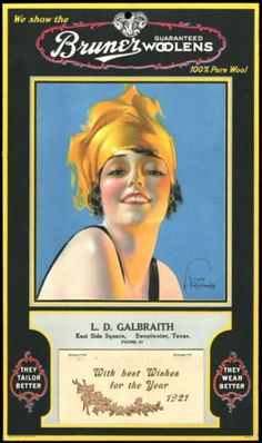 RARE Rolf Armstrong Advertising Calendar 1921 Flapper Girl for Bruner Woolens | eBay