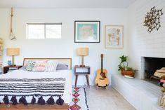 boho, minimalist, mid-century bedroom