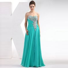 2015 A-Line Sweetheart Strapless Zipper Hollow Back Floor-length Ruffle Handmade Sequins Beading Chiffon Evening Dresses