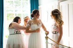 #EnzoaniRealBride Naomi in Gemena wedding dress / Colourful DIY Village Hall Wedding http://samanthagilrainephotography.com/