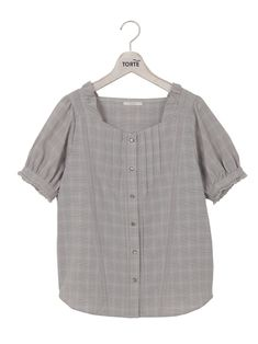 Blouses & Shirts Students Blouse Short Sleeve Loose Plaid V-neck Doll Women Shirts Summer Tops Fine Craftsmanship