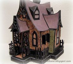 Amy's Art from the Heart, Halloween Haunted house, bewitched cabin from SVG Cuts.com, CTMH Moonlight papers