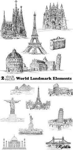Достопримечательности разных стран - графические рисунки в векторе. Vectors - World Landmark Elements