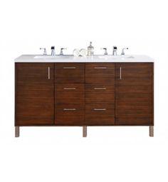 "James Martin 850-V60D-AWT Metropolitan 60"" Double Bathroom Vanity in American Walnut Finish"