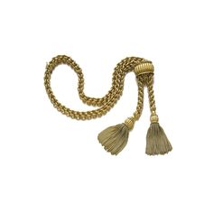 GOLD NECKLACE, 'TASSEL AND SLIDE', VAN CLEEF & ARPELS, 1950S The gold link chain terminating in articulated tassels, brought together by an adjustable slider, maximum length approximately 490mm, signed Van Cleef & Arpels, numbered, French assay and maker's marks, case by VCA.