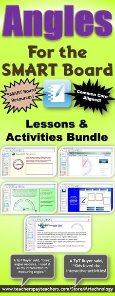 """This Common Core aligned interactive *#SMART Board lesson introduces students to different types of basic angles (acute, obtuse, straight, and right) and also involves utilizing an interactive protractor. Lesson also includes """"SMART Skoool"""" Learning & Teaching Technology slides, interactive matching and reveal games for hands-on manipulation, writing in math with real world problems, Real-World Scavenger Hunt, and #Math Journal prompts. *View a SCREENCAST before you buy! www.screenr.com/ZBQ7"""