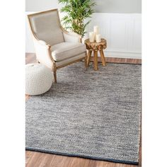 nuLOOM Handmade Flatweave Contemporary Solid Cotton Grey Rug (7'6 x 9'6) | Overstock.com Shopping - The Best Deals on 7x9 - 10x14 Rugs