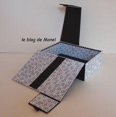 les cartonnages de Manel / la boitatout Blog, Cartonnage, Wedding Ring Box, Ring Boxes, Sewing Box, Blogging