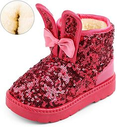 Toddler Girls Winter Boots lace up Bow Slip-On Fashion Princess Shoes