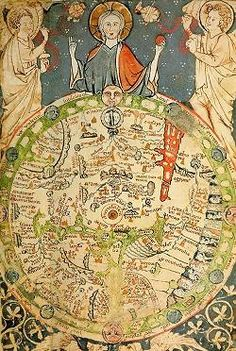 Geocentricite (terre-centre-univers)-Psalter World Map (mappa mundi), 1265 / This is one of the 'great' medieval world maps - La boite verte Medieval World, Medieval Art, Renaissance Art, Vintage Maps, Antique Maps, Antique World Map, British Library, World Map Art, Old World Maps