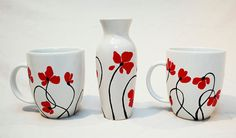Poppies Hand Painted Ceramic Vase by SylwiaGlassArt on Etsy