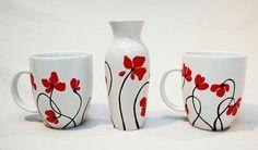 Hand Painted Ceramic Cup With Flowers Tea Mug Minimalism white red poppies flower botanical garden spring design Pottery Painting, Ceramic Painting, Hand Painted Ceramics, White Ceramics, Crackpot Café, Color Me Mine, Botanical Decor, Painted Flower Pots, Flower Artwork