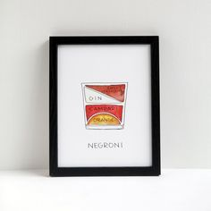 Negroni Cocktail Print from Drywell Art
