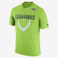 REPRESENT YOUR TEAM The Nike Icon (NFL Seahawks) Men's T-Shirt pays tribute to your favorite team with a football graphic on lightweight, sweat-wicking fabric. Benefits Dri-FIT fabric helps keep you dry and comfortable Rib crew neck with interior taping for comfort Product Details Fabric: Dri-FIT 100% polyester Machine wash Imported