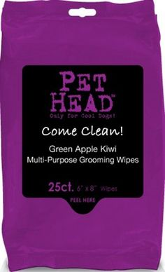 $9.67-$8.40 PET HEAD COME CLEAN WIPES 25CT - Pet Head Come Clean Body Wipes for Pets is the mulit-purpose pet wipe. Great for quick cleanings in between baths, a quick freshen' up, on the go, after a walk, and much, much more. Pet Head Come Clean Body Wipes for Pets has a deliciously fruity green apple kiwi scent and can be used on pets of all sizes; each wipe is pre-moistened with a gentle clean ...