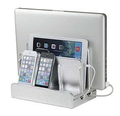 Amazon.com: Great Useful Stuff® White Leatherette Multi-device Charging Station and Cord Organizer for Smartphones, Tablets and Laptops: Cell Phones & Accessories