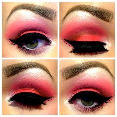 eye makeup, shades of red, pink, beauti, red eyeshadow