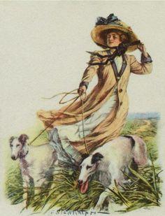 z- Borzois, 2- w Woman Walking -2b