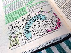 Bible Journaling in Phillipians Scripture Art, Bible Art, My Bible, Bible Scriptures, Bible Study Journal, Scripture Journal, Art Journaling, Book Of Philippians, Bible Doodling