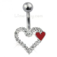 Piercing ombligo con corazón de cristal