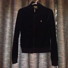 Juicy Couture velour track jacket Pre-loved Juicy Couture velour track jacket. This track jacket is black in color. In fantastic condition and ready for a new home! Juicy Couture Tops Sweatshirts & Hoodies