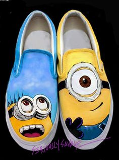 If not in the store, they are available upon request. Just drop me a note at Etsy. Despicable Me Minions Custom Painted Shoes Carl by seriouslysavage, $99.00