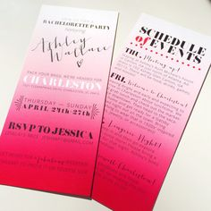Bachelorette Party Invitations With Itinerary - Fun Ombre Pink Weekend Party on Etsy, Brittany Garner Design