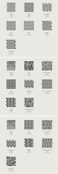 Great ideas for backsplash or bathroom floor design. Tapestry Collection - Heath Ceramics layout concepts Great ideas for backsplash or bathroom floor design. Bathroom Flooring, Kitchen Flooring, Ceramic Flooring, Brick Flooring, Eames Design, Floor Design, House Design, Brick Design, Yard Design