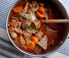 Julia Child's famous beef bourguignon  Bon Appetit!!  OMGoodness, take a Sat afternoon and make this!  You will never regret it.
