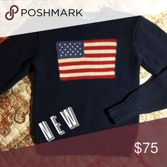 Vintage Ralph Lauren American Flag Knit Sweater Women's Large - men's small - excellent condition Polo by Ralph Lauren Sweaters Crew & Scoop Necks