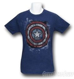 Made from 100% Cotton this exceptionally soft royal blue t-shirt features a Captain America shield symbol seemingly rendered in thick melting pastels. Either that or it's a melting Captain America ice cream cake.    http://www.marveloussuperherosquad.com/details.php?pid=492648051