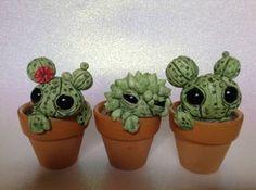 Aangepaste Cactus sculpturen Set van drie schattige Polymer